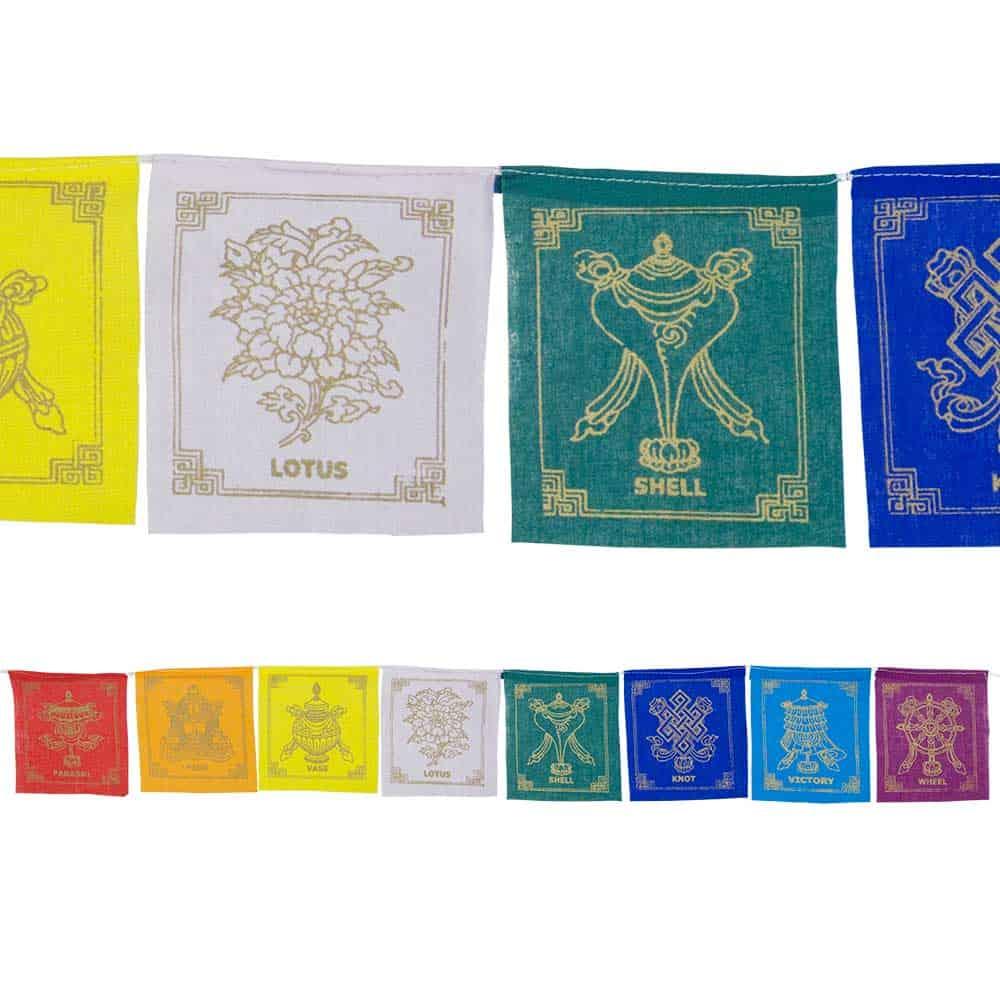 Eight Auspicious Symbols Tibetan Prayer Flag Inspirit Crystals