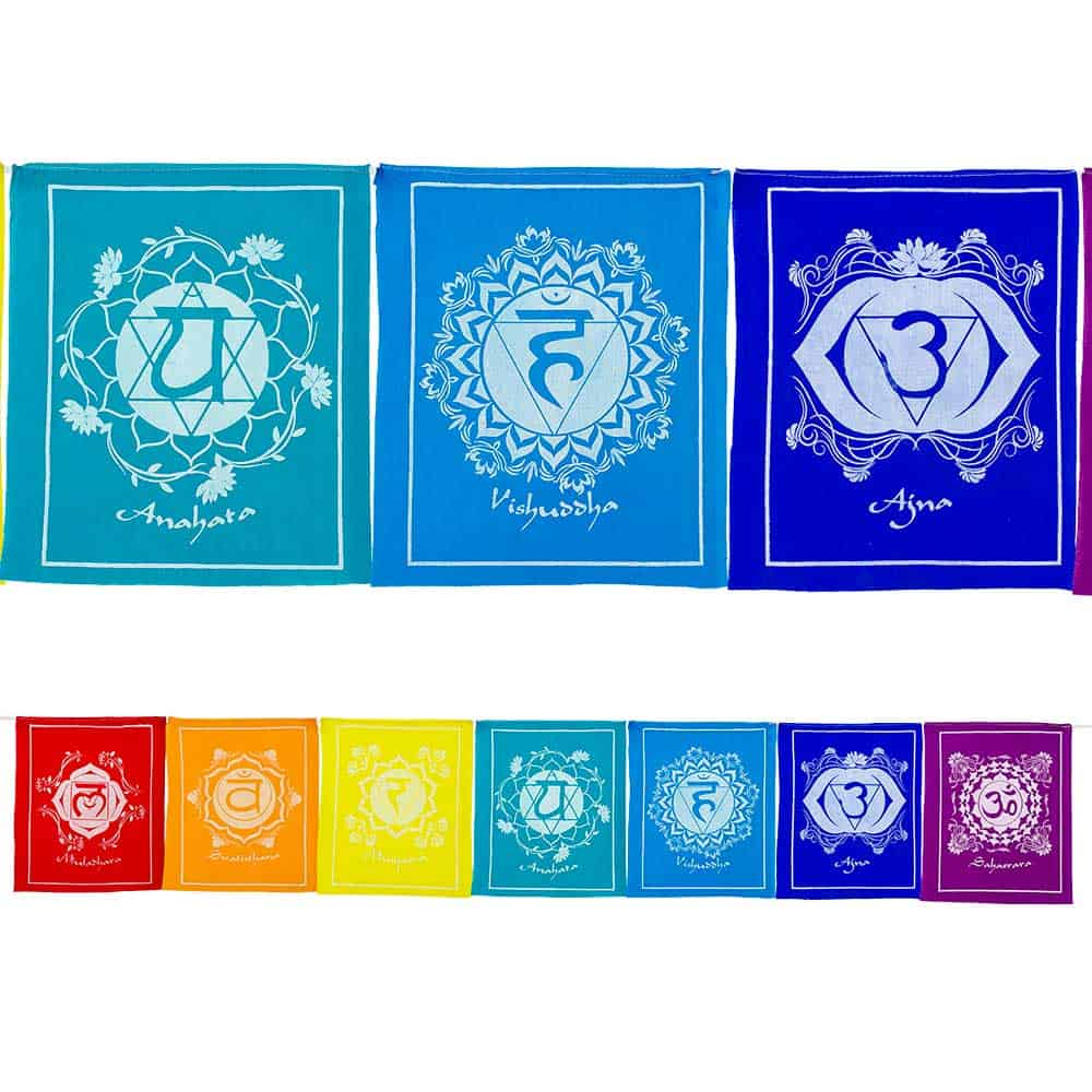 Seven Chakra Tibetan Prayer Flag Inspirit Crystals