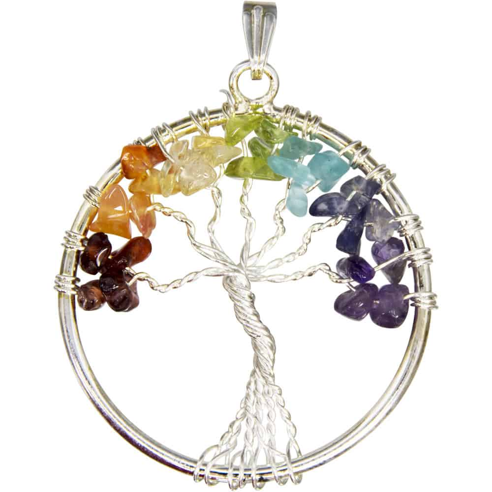Gemstone Chip Wire Tree of Life Pendant 3.5cm | Inspirit Crystals