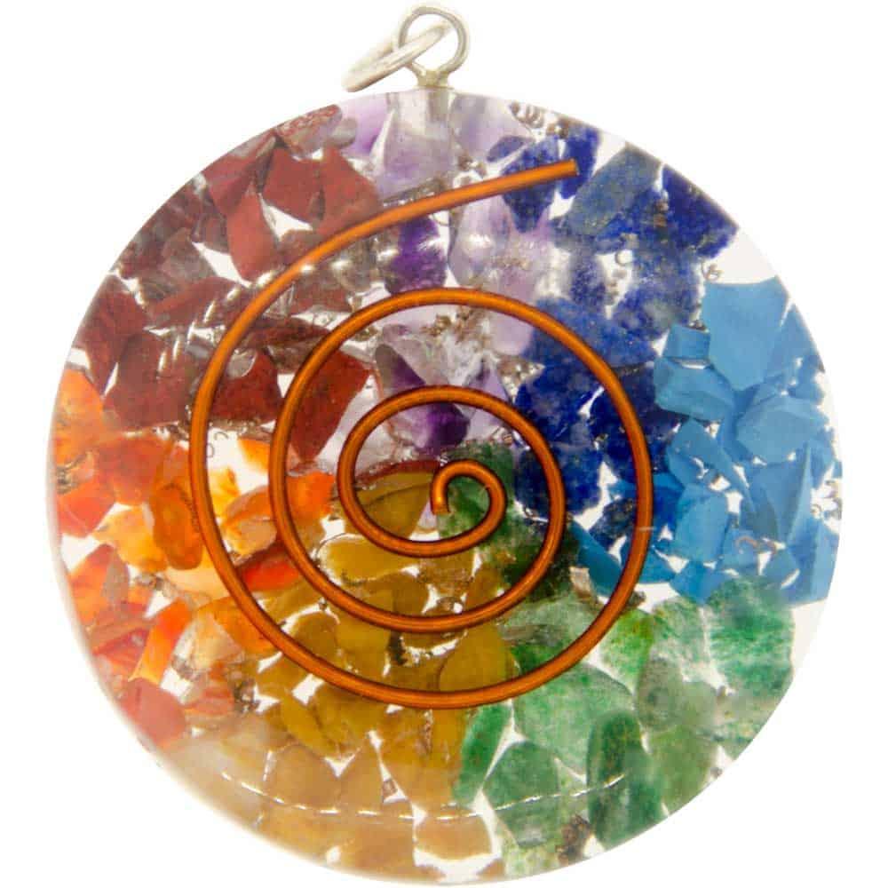 Orgone Spiral Chakra Circle Pendant