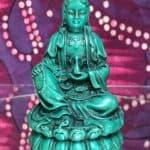 """Kuan Yin 3.5"""" Green Statue"""