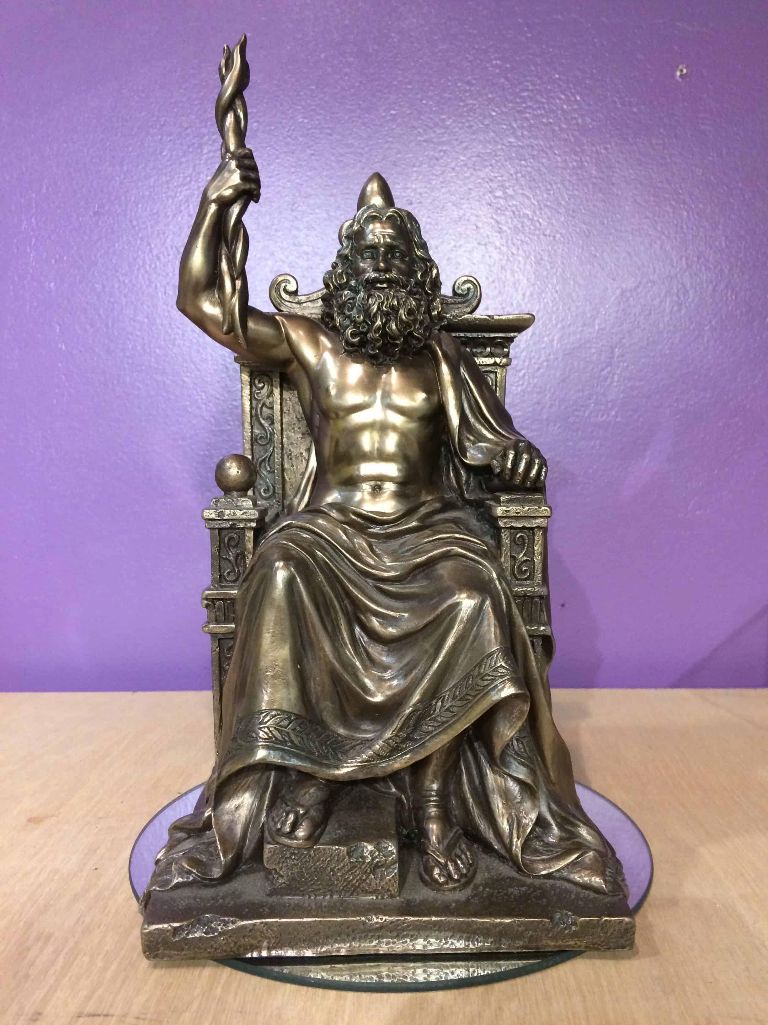 """12"""" Zeus on Throne Statue"""