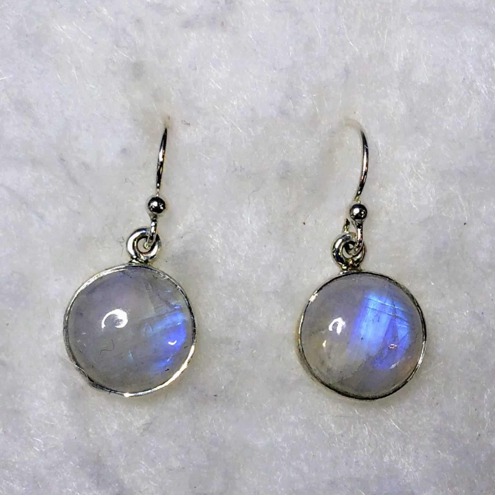 Rainbow Moonstone Circle Earrings Sterling Silver