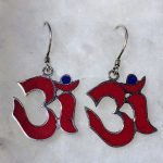 Red Coral and Lapis Ohm Earrings (Sterling Silver)