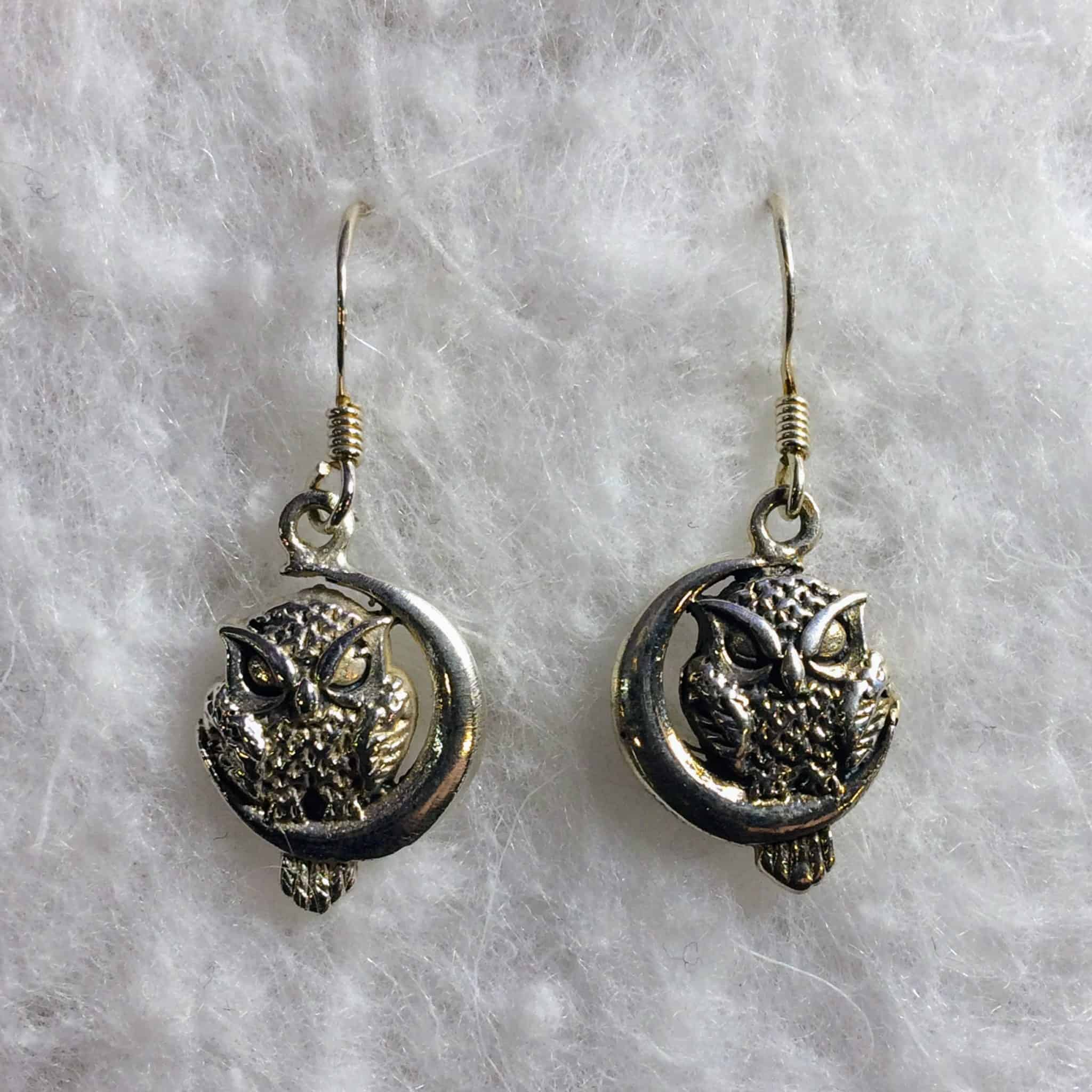crescent moon products south er sterling paw dotted silver bali dangle earrings