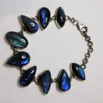 9.5″ Labradorite Nine Stone Bracelet (Sterling Silver)