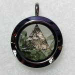 Moldavite Chips with Iron Meteorite Triangle Circle Pendant