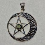 Moldavite Celtic Moon Pentacle (Sterling Silver)
