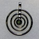 Moldavite Triple Concentric Ring Pendant (Sterling Silver)