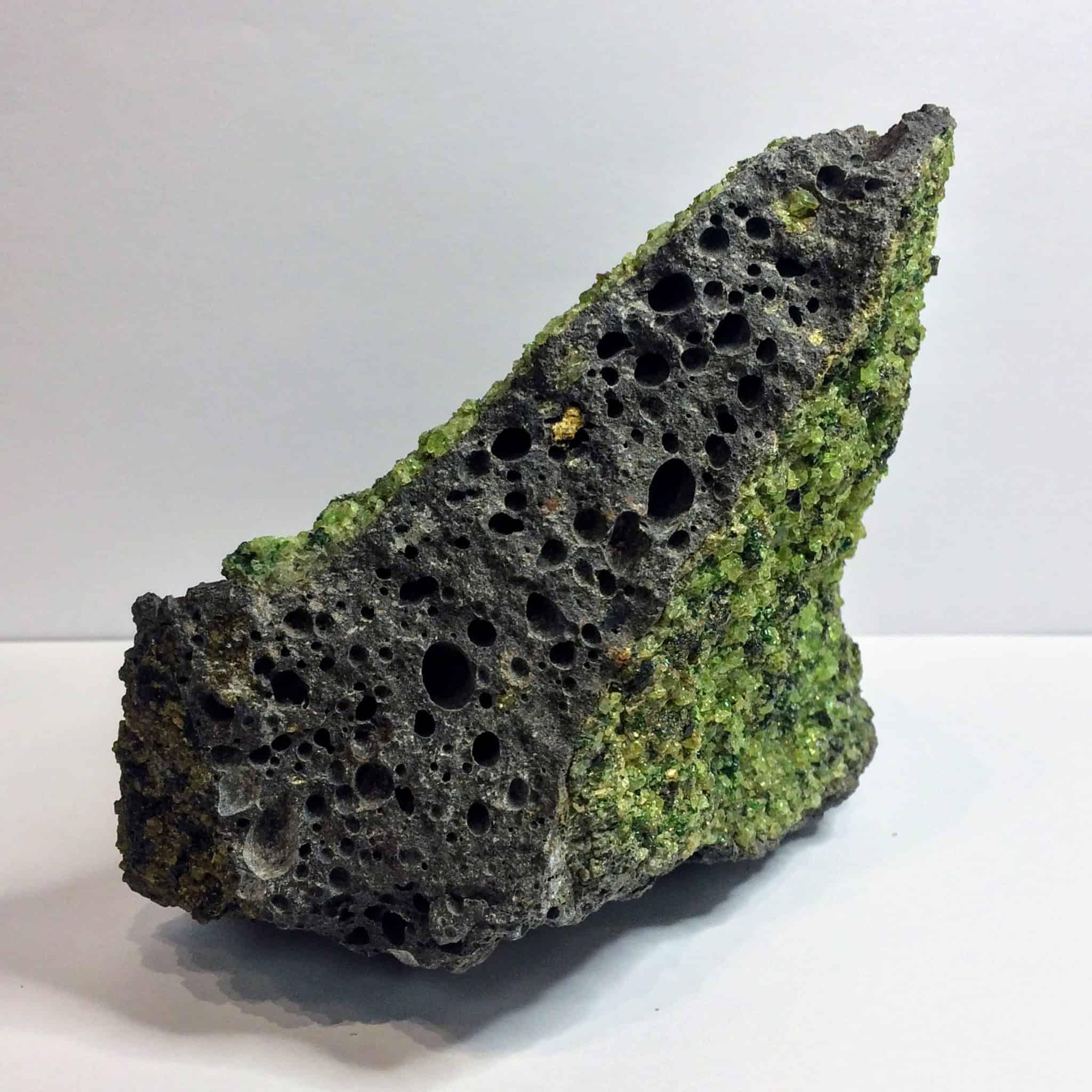 Peridot In Basalt Matrix 2lbs 1 15 Oz Inspirit Crystals
