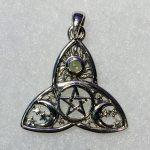 Moldavite Triquetra Pentacle Pendant (Sterling Silver)