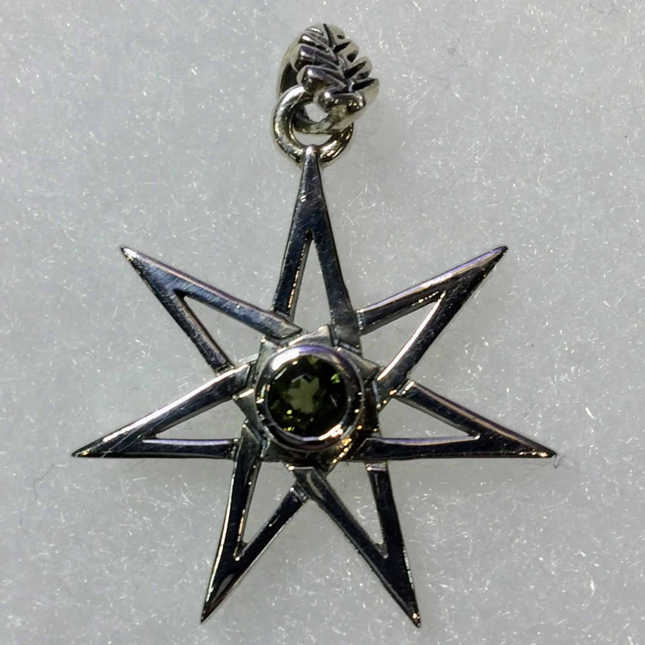 Moldavite heptagramfairy star pendant with leaf bale sterling moldavite heptagramfairy star pendant with leaf bale sterling silver aloadofball Gallery