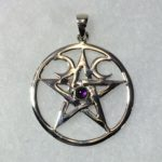 Triple Moon Pentacle Pendant with Amethyst (Sterling Silver)