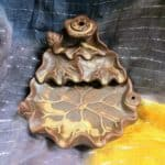 "3.85"" Brown Lotus Leaf Ceramic Backflow Incense Burner"
