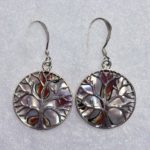 1.8cm Tree with Turban Shell Inlay Circle Earrings (Sterling Silver)