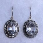 1.3cm Ornate Faceted Clear Quartz Oval Earrings (Sterling Silver)