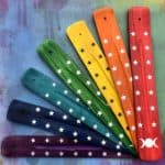 "10"" Triple Moon Wooden Incense Stick Holder (Various Colors)"