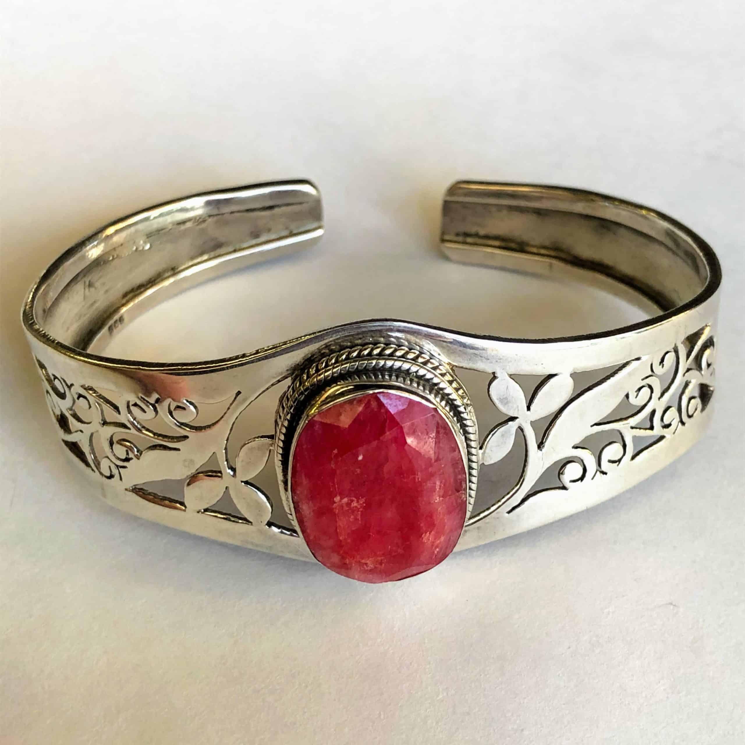 2.2cm Ruby Oval Sterling Silver Cuff Bracelet