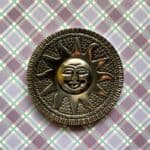 "4"" Sun Face Round Disc Aluminum Incense Stick and Cone Burner"