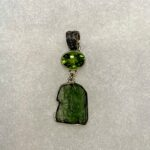 4cm Rough Moldavite and Faceted Peridot Two-Stone Pendant
